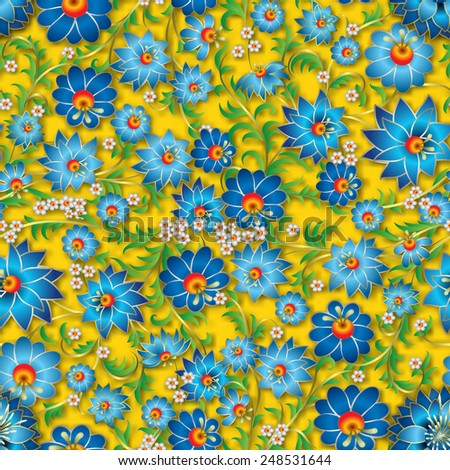 abstract blue spring seamless floral ornament and shadow on a yellow background - stock vector