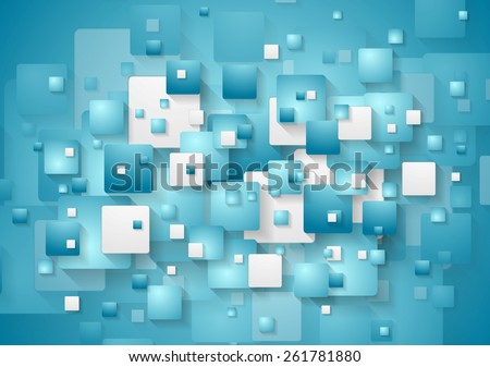 Abstract blue squares background. Vector design - stock vector