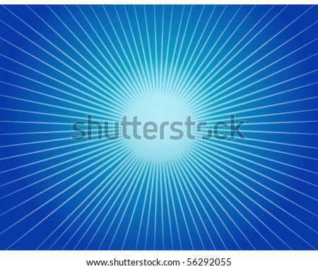 Abstract Blue Starburst Background - stock vector