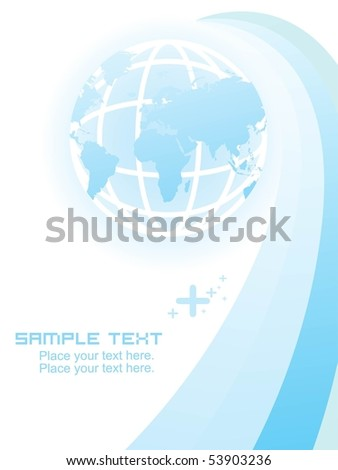 abstract blue stripes background with globe, sample text