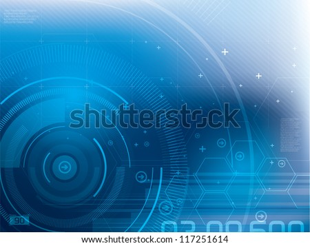 Abstract blue technical background in vector illustration - stock vector