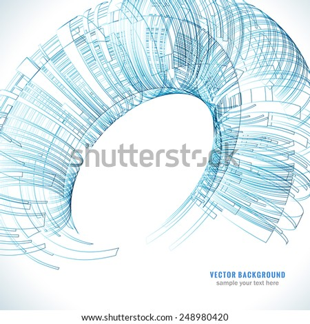 Abstract blue technology Background for Business Brochure or Cover. Futuristic color wave. EPS10. - stock vector