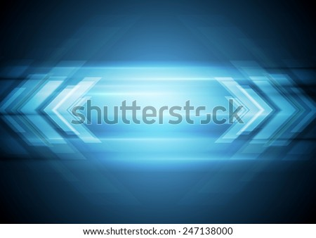 Abstract blue technology background with arrows. Vector design - stock vector