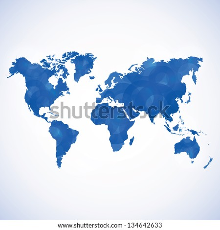 Abstract blue textured wold map. Vector