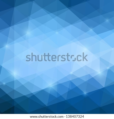 Abstract Blue Triangle Background, Vector Illustration EPS10, Contains Transparent Objects - stock vector