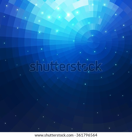 Abstract Blue underwater concentric circle shine mosaic vector background. Technology concept wallpaper - stock vector