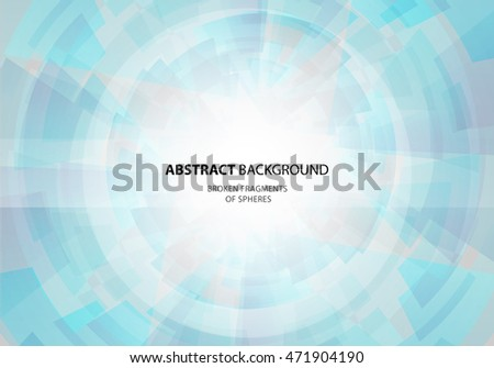 Abstract blue vector background. Broken fragments of sphere