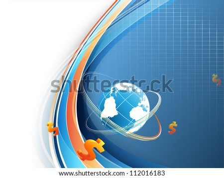 abstract blue vector background with globe and lines. Eps10