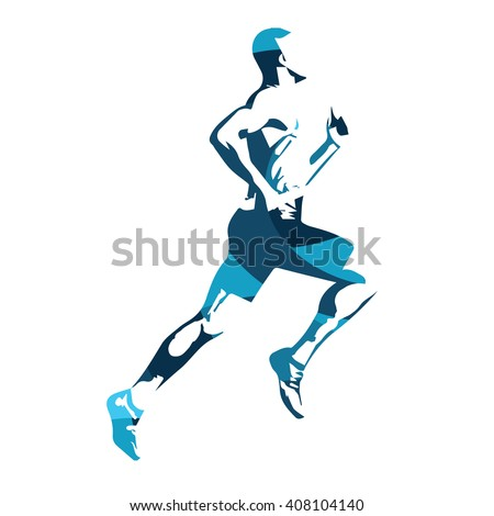 Abstract blue vector runner. Running man, vector isolated illustration. Sport, athlete, run, decathlon