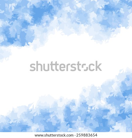Abstract blue watercolor background or template. Vector illustration - stock vector