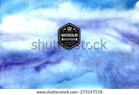 Abstract blue watercolor background. Vector illustration. Retro vintage badge with king crown.  - stock vector