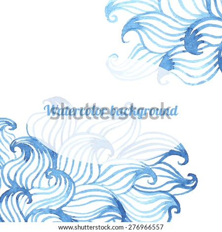 Abstract blue watercolor hand drawn curly waves doddle background with oval badge for text. Vector illustration.