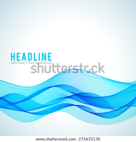 Abstract blue wave isolated on white background. Vector illustration for modern business design. Futuristic wallpaper. Cool element for presentation, card, flyer and brochure.