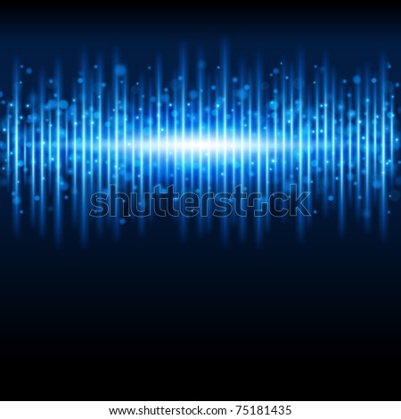 Abstract blue waveform vector background. Eps 10. - stock vector