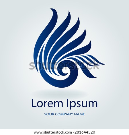 Abstract blue wavy emblem or logo design vector template. - stock vector