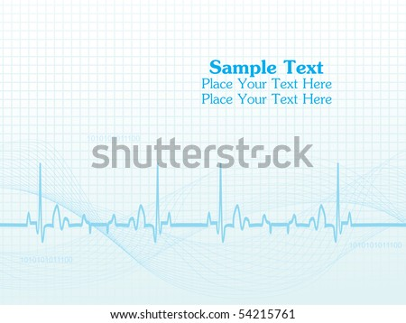 abstract blue wavy, heart beat background with sample text - stock vector