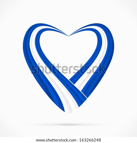 Abstract blue white blue heart ribbon flag  - stock vector