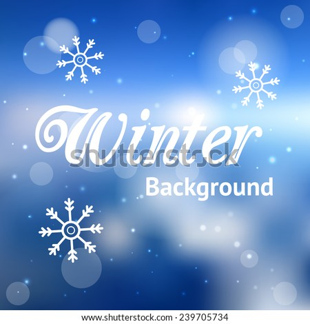 Abstract blue winter background - stock vector