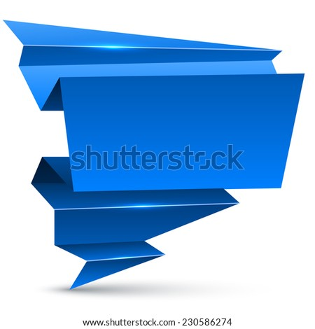 Abstract blue winter origami banner isolated on white background. - stock vector