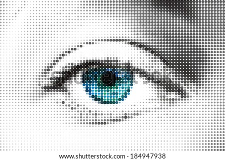 Abstract blue woman eye made from dots. Vector