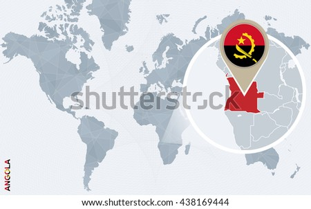 Abstract blue world map with magnified Angola. Angola flag and map. Vector Illustration. - stock vector