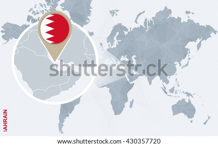 Abstract blue world map with magnified Bahrain. Bahrain flag and map. Vector Illustration. - stock vector