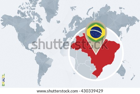 Abstract blue world map magnified brazil vectores en stock 430339429 abstract blue world map with magnified brazil brazil flag and map vector illustration gumiabroncs Choice Image