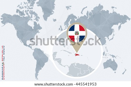 Abstract Blue World Map Magnified Dominican Stock Vector 445541953 ...
