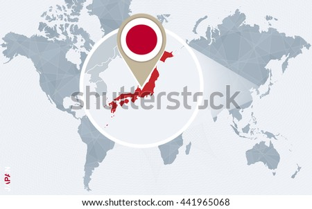 Abstract blue world map magnified japan stock vector 441965068 abstract blue world map with magnified japan japan flag and map vector illustration gumiabroncs Image collections