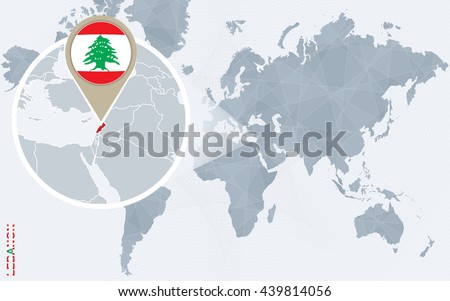 Abstract blue world map magnified lebanon stock photo photo vector abstract blue world map with magnified lebanon lebanon flag and map vector illustration gumiabroncs Image collections