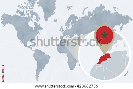 Abstract Blue World Map Magnified Morocco Stock Vector 423682756