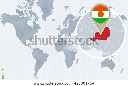 Abstract blue world map with magnified Niger. Niger flag and map. Vector Illustration. - stock vector