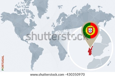 Abstract blue world map with magnified Portugal. Portugal flag and map. Vector Illustration.