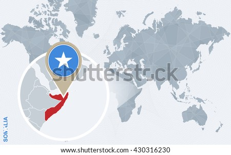 Abstract blue world map with magnified Somalia. Somalia flag and map. Vector Illustration. - stock vector