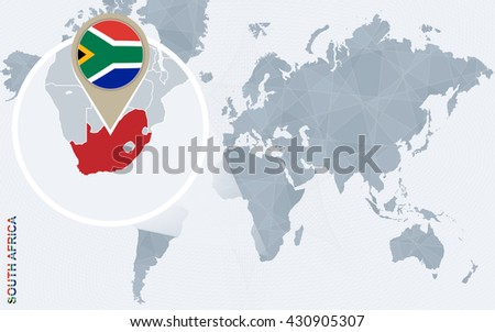 Abstract blue world map with magnified South Africa. South Africa flag and map. Vector Illustration.