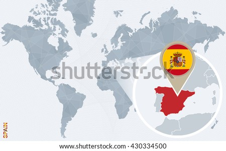 Abstract blue world map magnified spain stock vector 430334500 abstract blue world map with magnified spain spain flag and map vector illustration gumiabroncs Image collections