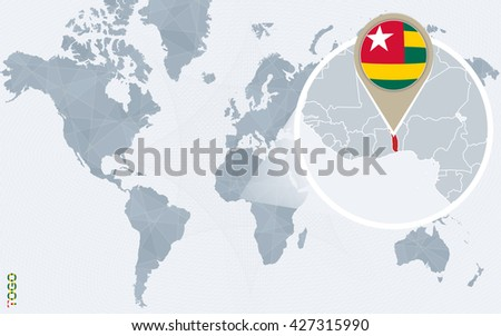 Abstract blue world map with magnified Togo. Togo flag and map. Vector Illustration. - stock vector