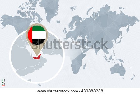 Abstract blue world map with magnified United Arab Emirates. UAE flag and map. Vector Illustration. - stock vector