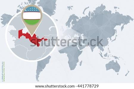 Abstract blue world map magnified uzbekistan stock vector 441778729 abstract blue world map with magnified uzbekistan uzbekistan flag and map vector illustration gumiabroncs Images