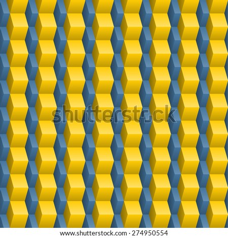 Abstract blue-yellow tile seamless texture with 3d effect - stock vector