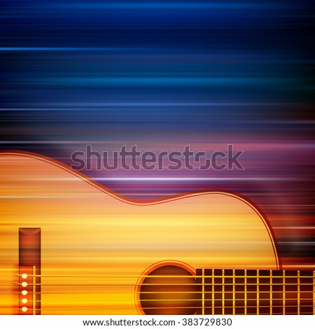 abstract blur music background with acoustic guitar - stock vector