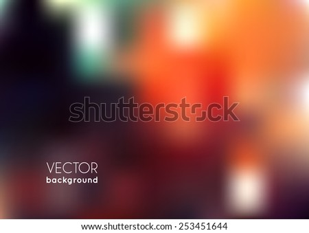 Abstract blurred background with color illumination. Red, green and orange lights. Bright cover design template for corporate card, book, booklet, brochure, flyer, poster, banner. Vector illustration - stock vector