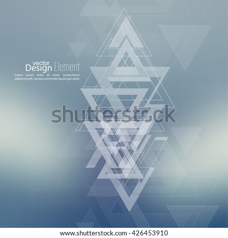 Abstract blurred background with hipster stream flying triangles debris. Pattern. For cover book, brochure, flyer, poster, layout, template, magazine, t-shirt. Vector design. subtle. color, blue - stock vector