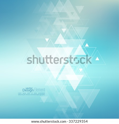 Abstract blurred background with hipster stream flying triangles debris. Triangle pattern background. For cover book, brochure, flyer, poster, magazine, cd cover design, t-shirt. Vector design. - stock vector