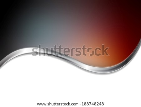 Abstract blurred background with metallic wave. Gradient mesh