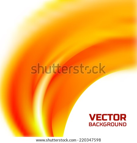 Abstract blurred background with orange flame wave - stock vector
