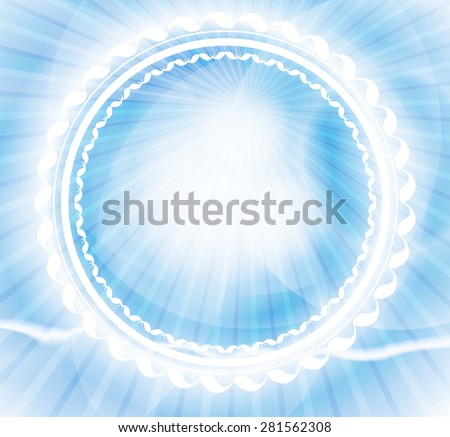 Abstract blurred blue background with frame, rays and an empty place for your text. Vector illustrations. - stock vector