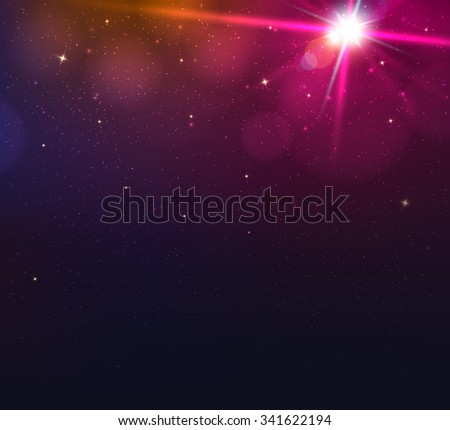 Abstract blurred vector background with light glare, bokeh and glowing particles. Lighting effects of flash. Abstract illustration - stock vector
