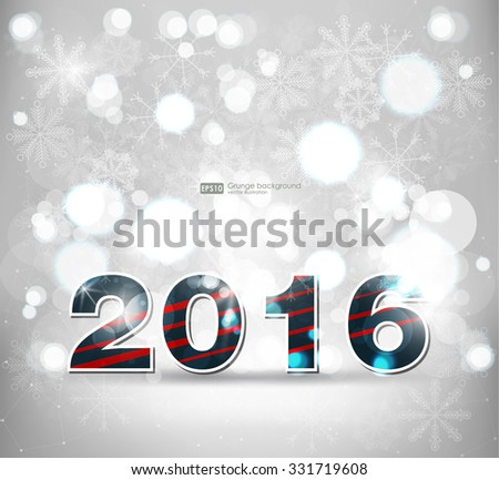 Abstract blurred vector background with sparkle stars. Happy New Year 2016. For decorations festivals, xmas, glamour holiday, illuminated, celebration - stock vector