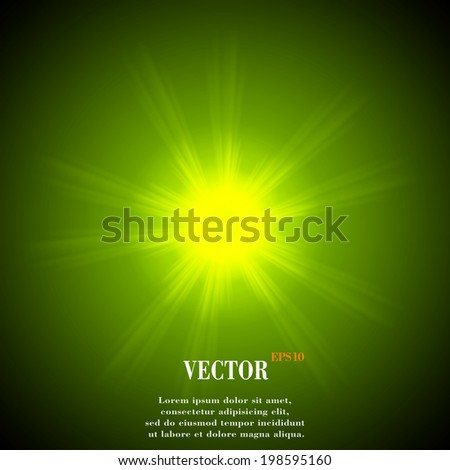 Abstract blurry background with overlying semi transparent circles, light effects and sun burst. Vector. EPS10 - stock vector